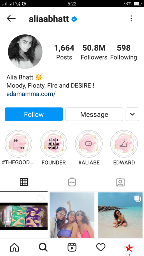Alia Bhatt  instagram followers data