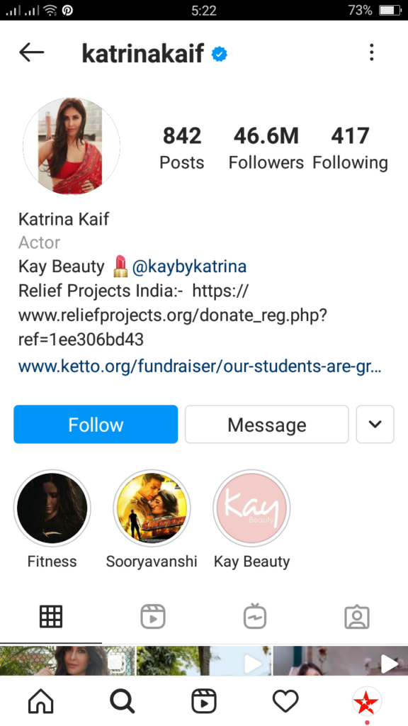 Katrina Kaif instagram followers data