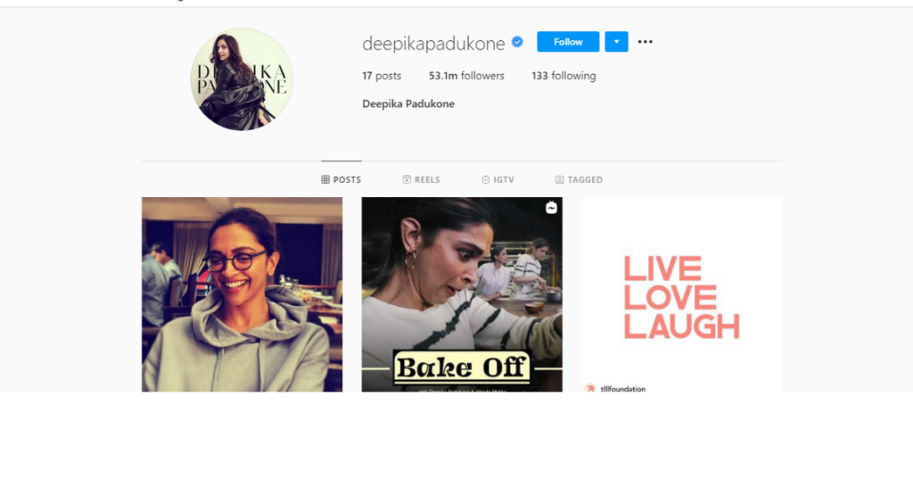 Deepika Padukone instagram followers data