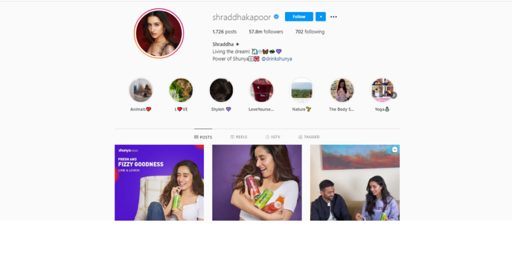 Shraddha kapoor  instagram followers data